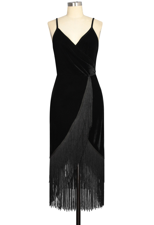 Burnout Velvet Fringe Dress
